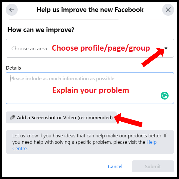 unable to comment on facebook post