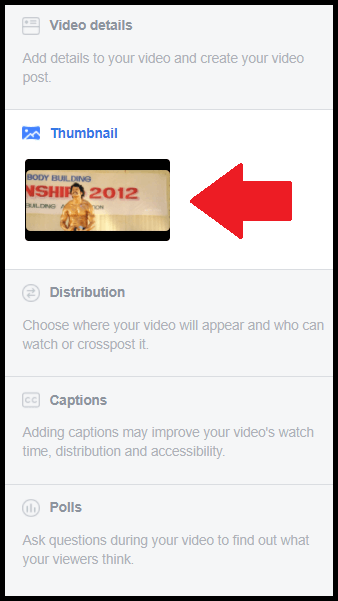 how to change thumbnail of facebook video