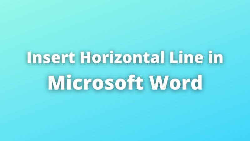 how to insert horizontal line in word